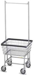 Deluxe Wire Laundry Cart with Hanging Bar