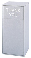 Large Capacity Push Door Waste Receptacle with Flat Top with Thank You (Gray) - Model #: SFC9728