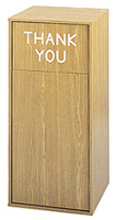 Large Capacity Push Door Waste Receptacle with Flat Top with Thank You (Oak) - Model #: SFC9728