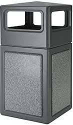 38 Gallon Plastic Dome Top Trash Can  - Gray with Ashtone Panels